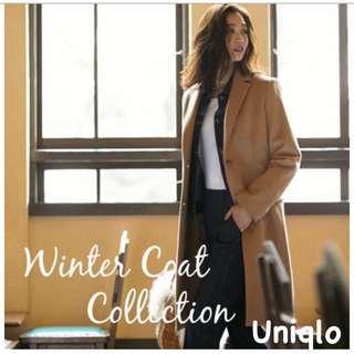 Uniqlo 羊毛大衣 羊毛外套 大衣外套 長版大衣 36%羊毛 駝色 卡其色 男友風 Bf風 繭型 韓風 韓系 大衣