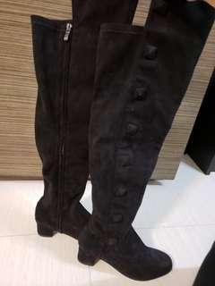 VALENTINO 黑色絨面皮里長靴