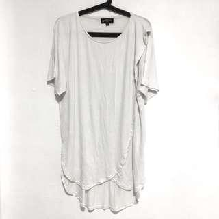 Underated Co White Asymetrical Viscose T Tee Shirt