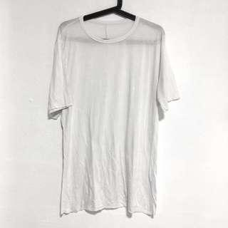 Plain White Viscose Raw Hem Short Sleeve T Tee Shirt