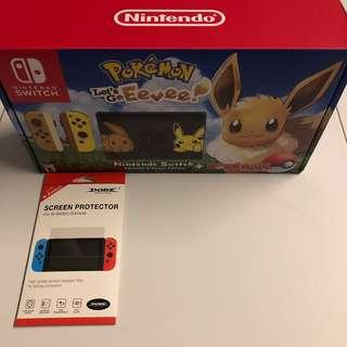 WTS- Let's Go Eevee Nintendo Switch Limited Edition + Tempered Glass Screen Protector