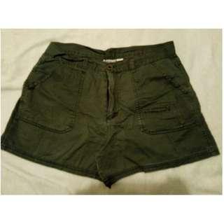 Casual Khaki Green Shorts