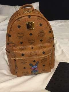 MCM Stark Classic Rabbit Backpack in Visetos Cognac