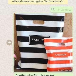 Orange line plastic bag
