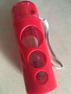 Red glass water bottle tumbler