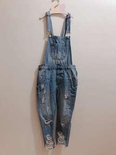🚚 Zara 吊帶褲 牛仔吊帶褲 連身褲裝
