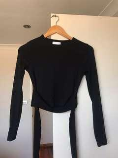 Kookai Long Sleeve Tie Top