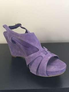 Lilac Violet Suede Paco Herrero Wedge Size 38 Made in Spain