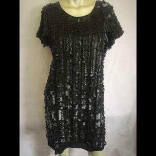 Cohen et Sabine Faux Leather Sequin Dress Size 12