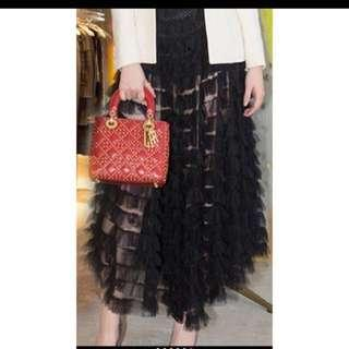 Black Mesh Lace Sheer Ruffle Skirt