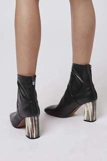 Topshop Muse Black Leather Boots Sz 8-8.5