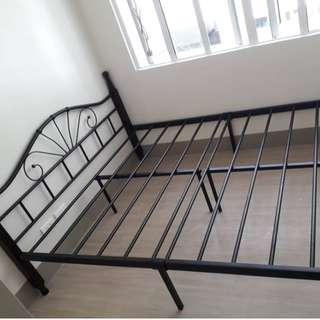 """bed frame queen size with 6"""" mattress wood post"""