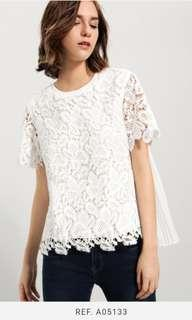 Saturday Club Lace Top With Pleated Back Details
