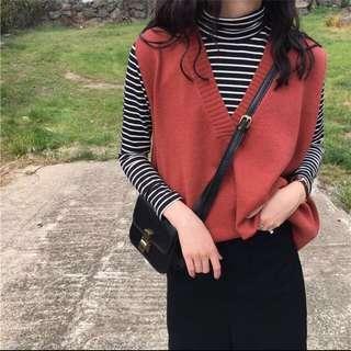 🚚 -Dan小舖- V領寬鬆長版針織背心 洋裝 背心裙 豬肝紅