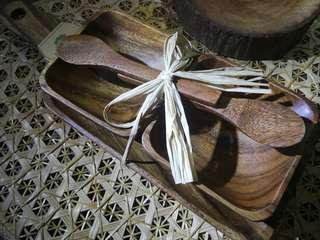 5pc Set of Square Wooden Bowls with spoons, serving tray