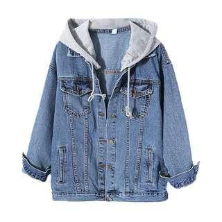 Denim Jacket with Grey Detachable Hoodie