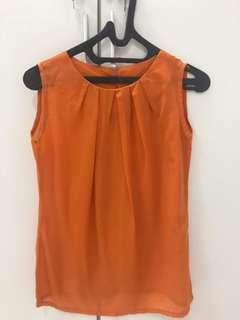 Orange sleeves blouse