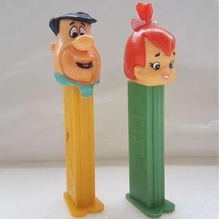 🚚 Rare Toy, Vintage Toy, Old Toy, PEZ Candy, Sweet Dispenser, Fred Flintstones and Pebbles Flintstones, Hanna-Barbera Productions, Inc. 1992, Made in Austria, Art Décor, USA Patent, Limited Edition, For Collector, a set of 2 Flintstones characters