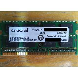 🚚 CRUCIAL 4GB 2RX8 DDR3 PC3-12800 SODIMM Laptop RAM