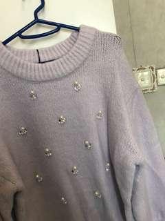 Heather 粉紫珍珠毛衣