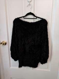 Fluffy black super soft top
