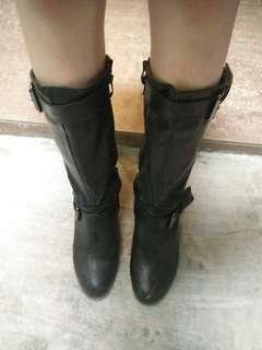 Boots cewek bahan kulit