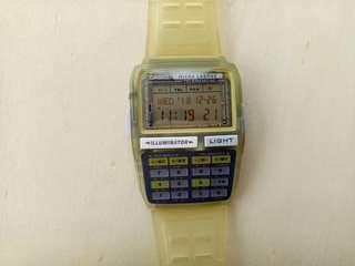 Vintage Casio Data Bank DBC-63 Micro Cosmos Calculator Watch Jam Made in Korea