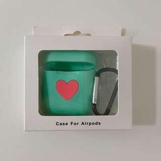 Mint green heart shape AirPod case