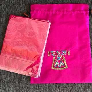 Dark pink scarf gift set 100% silk