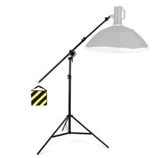 Heavy duty 2in1 Light Stand,Boom Arm,Rotatable Aluminum Adjustable Tripod Boom Light Stand with Sandbag for Studio Photography