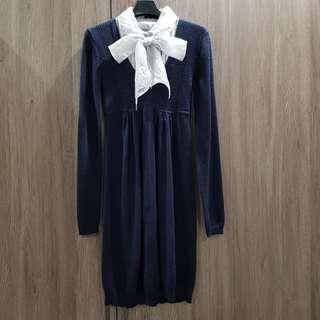 【二手洋裝】 MOMA百貨專櫃 氣質學院風針織洋裝#含運費