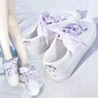 •PO• White Unicorn Ribbon thick tie platform shoes