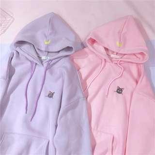 •PO• Pastel Pink Purple Mooncat Hoodie top