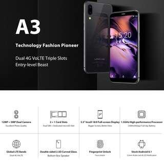 UMIDIGI A3, Dual 4G, 2GB+16GB, Dual Back Cameras, Face ID & Fingerprint Identification, 5.5 inch 2.5D Full Screen Android 8.1 MTK6739 Quad Core up to 1.5GHz, Network: 4G, Dual SIM