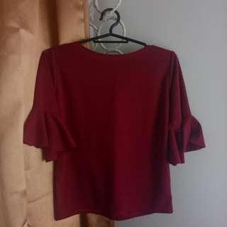 Red Flounce Sleeved Blouse