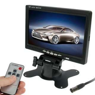 7.0 inch Car Monitor / Surveillance Cameras Monitor with Adjustable Angle Holder & Remote Controller, Dual Video Input