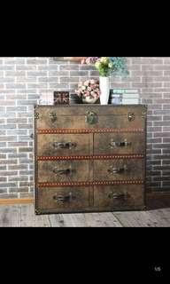Rustic faux leather old school feel cabinet