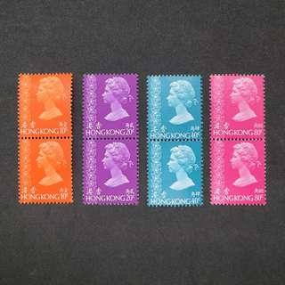 (MNH, 原背膠) 1973年香港通用郵票 10,20,40,80¢,兩連四組 (包郵)