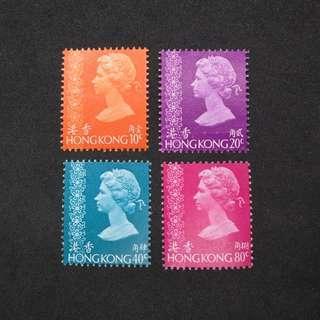 (MNH, 原背膠) 1973年香港通用郵票 10,20,40,80¢,四枚