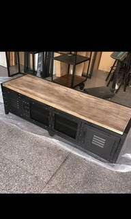 Retro industrial Iron wood TV rack