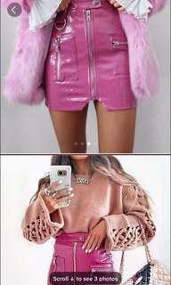 Pink latex mini skirt