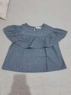 Blouse jeans garis2