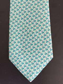 Men's Ferragamo silk tie - green fish