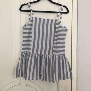Impromptu: stripes peplum top in grey