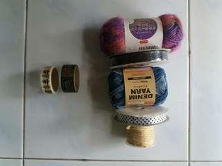 Assorted Ribbons,wools,yarn,jute string, washi tapr