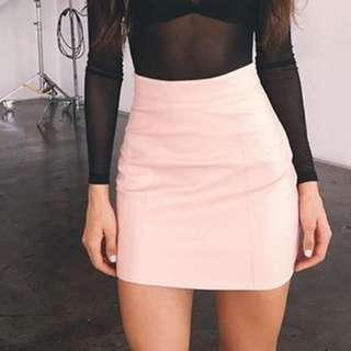 BRAND NEW PINK FAUX LEATHER SKIRT