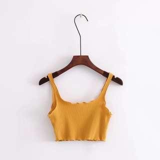 🚚 Mustard Ribbed Crop Top