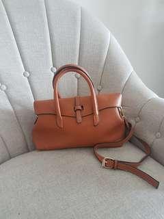 Brown PU leather tote bag
