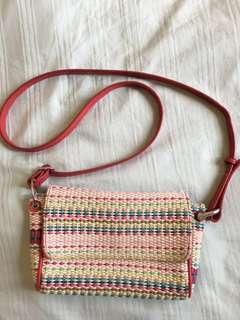 Sling Bag in colourful straw design