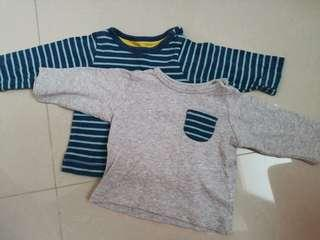 Mothercare long sleeved tops in grey and blue